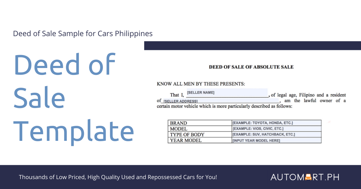 Deed of Sale Sample for Cars Philippines